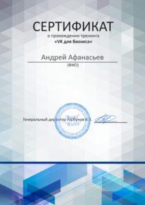 """Сертификат о прохождении тренинга """"VK для бизнеса"""""""